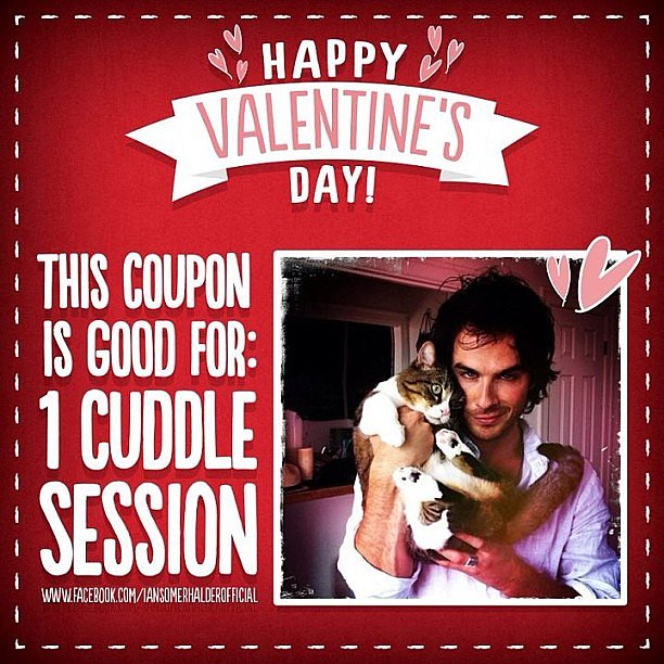 Ian Somerhalder was giving out free cuddle sessions in honor of Valentine's Day. Source: Instagram user somerhalder_ian