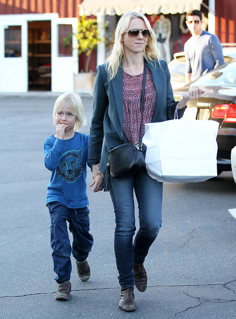 Naomi Watts and Sasha Schreiber left Brentwood Country Mart.