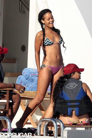 Rihanna partied on a boat in a patterned bikini in July 2012.