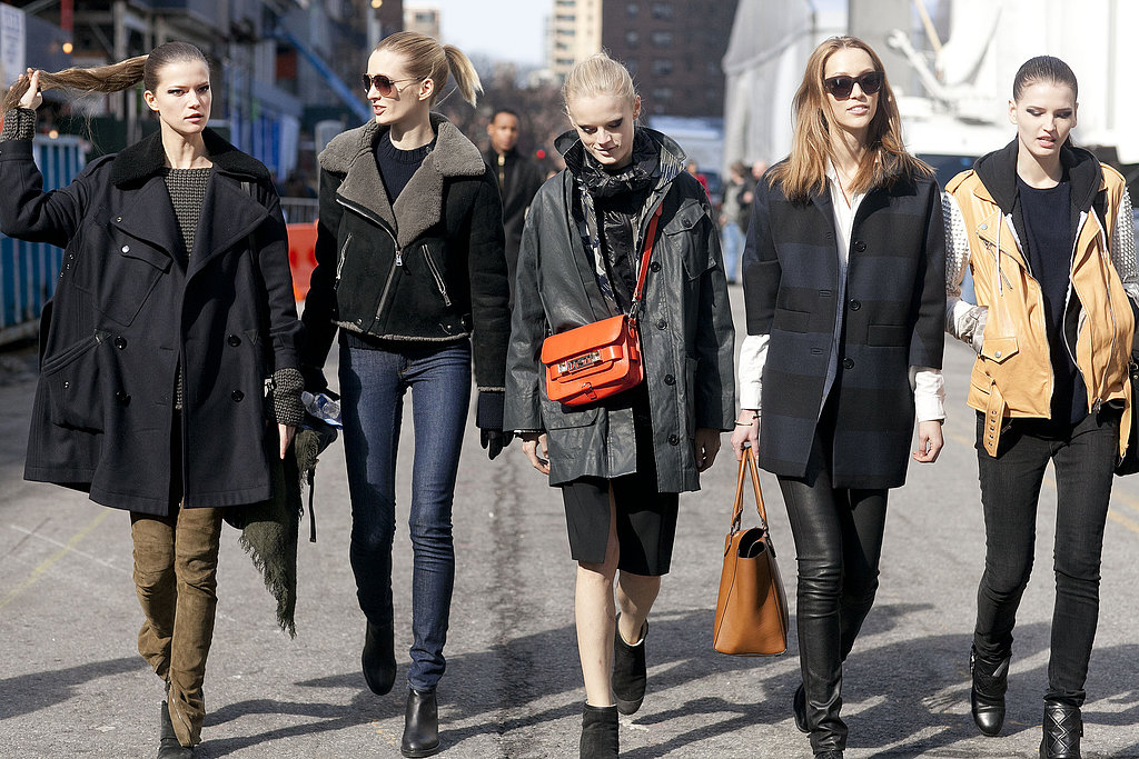 The off-duty model crew made the rounds at Lincoln Center in covetable outerwear and cool layers.