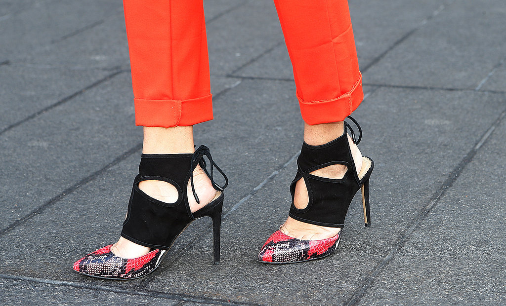 These snake-print cutout pumps provided even more wow factor to bright bottoms.