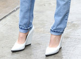 White wedged Céline pumps provided an unexpectedly chic finish to laid-back denim.