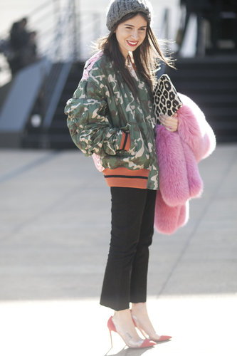 Camo print looked decidedly more glam with heels and a bright pink fur in tow.