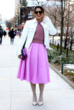 Pastels make this ladylike look pop.