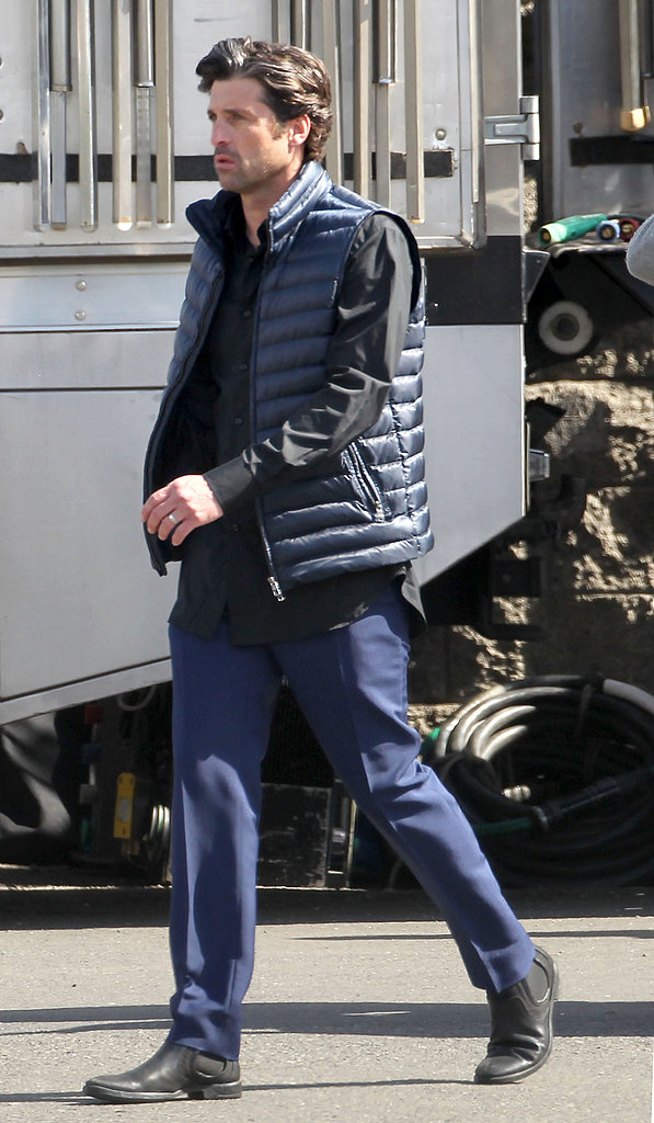 Patrick Dempsey walked onto the set of a L'Oréal commercial in LA Sunday.