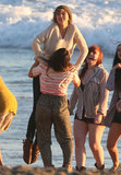 Taylor Swift shot her new music video on the beach in Malibu on Monday.
