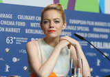 Emma Stone wore red lipstick in Berlin.