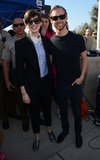 Anne Hathaway and Adam Shulman posed together at the One Billion Rising event in LA.