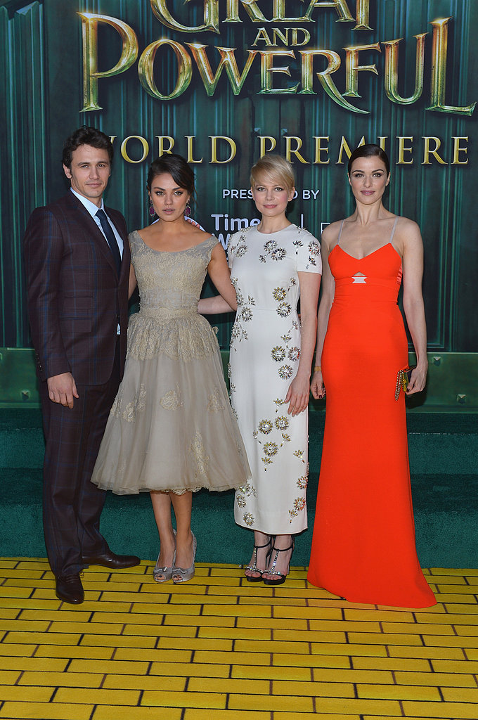 Mila Kunis joined costars Michelle Williams, James Franco, and Rachel Weisz on the yellow brick road at the LA premiere of Oz the Great and Powerful.