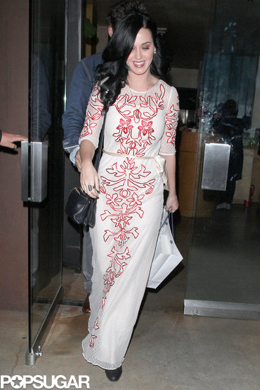 Katy Perry wore a white dress with red embellishment for her Valentine's date with John Mayer in LA.