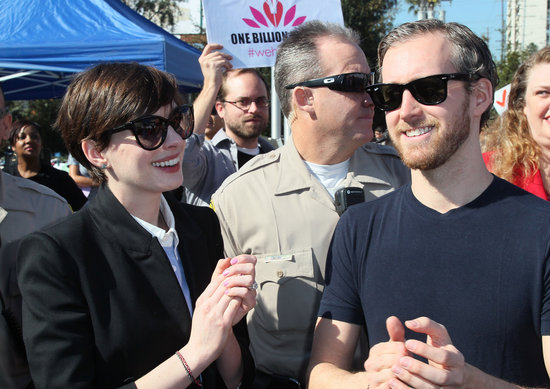Anne Hathaway attended the kickoff event for One Billion Rising in West Hollywood with husband Adam Shulman.