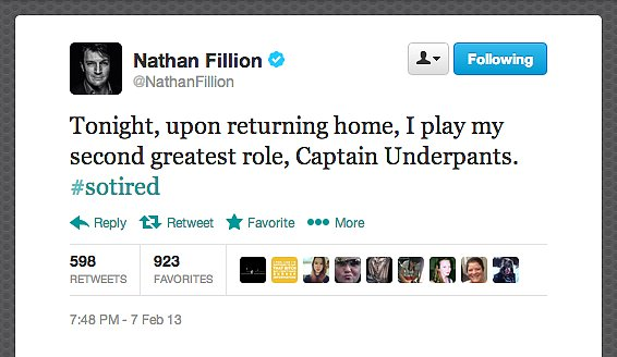 Actor Nathan Fillion revealed his superhero alter ego.