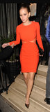 While out in London, Jennifer Lawrence donned this statement-making Stella McCartney dress to dinner.