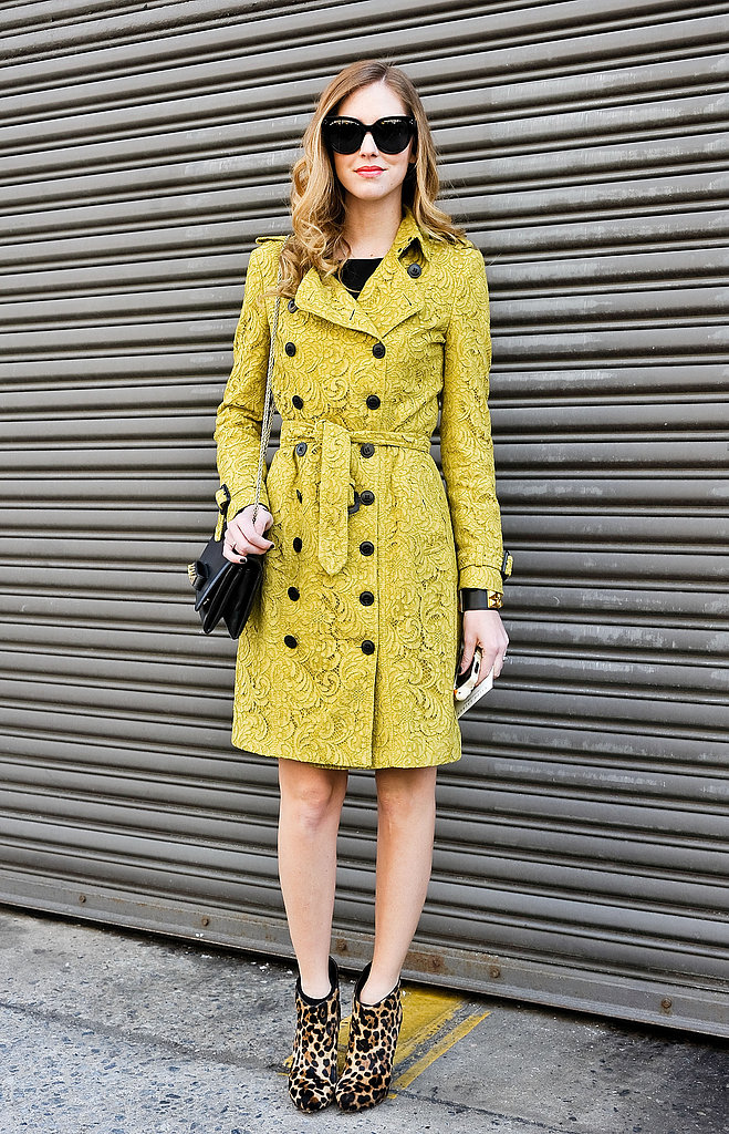 Chiara Ferragni added spunk to her ladylike outerwear with a pair of leopard-print booties.