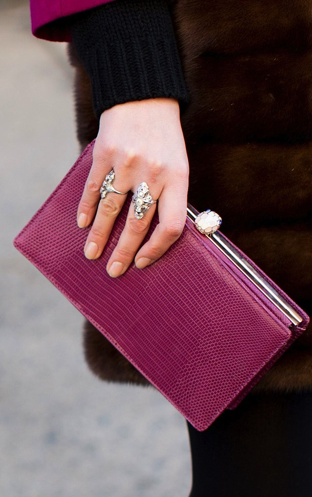 A simple leather clutch in an irresistible berry hue made for the perfect showstopping piece.