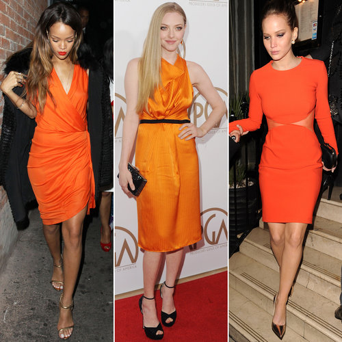 Style an Orange Dress Like Jennifer Lawrence