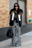Striped, floaty trousers gain Winter edge with sharp, colorblocked fur.