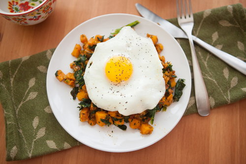 Sweet Potato and Kale Hash with a Fried Egg