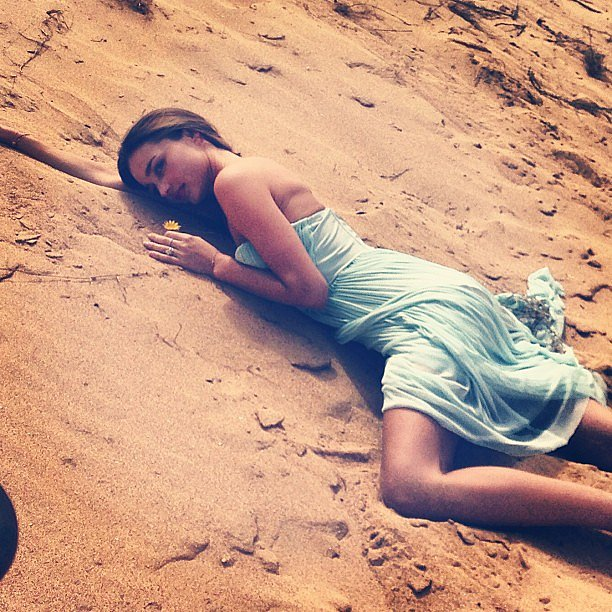 Miranda Kerr showed thesand some love while on a shoot for her new Kora campaign in Sydney. Source: Instagram user stylemeromy