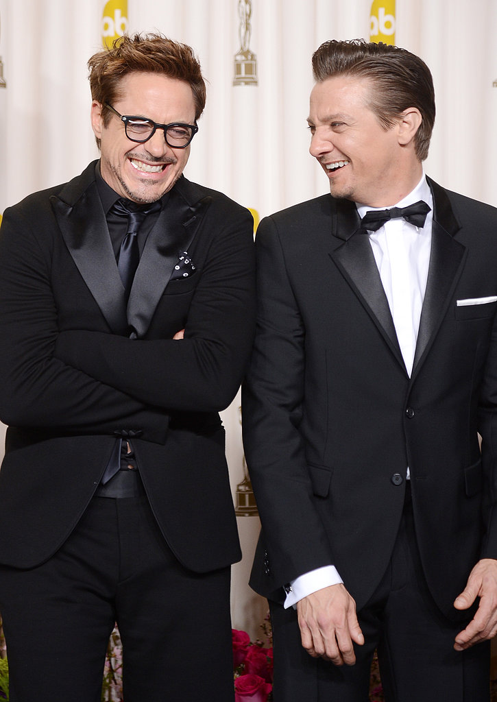 Robert Downey Jr. and Jeremy Renner joked around in the press room.