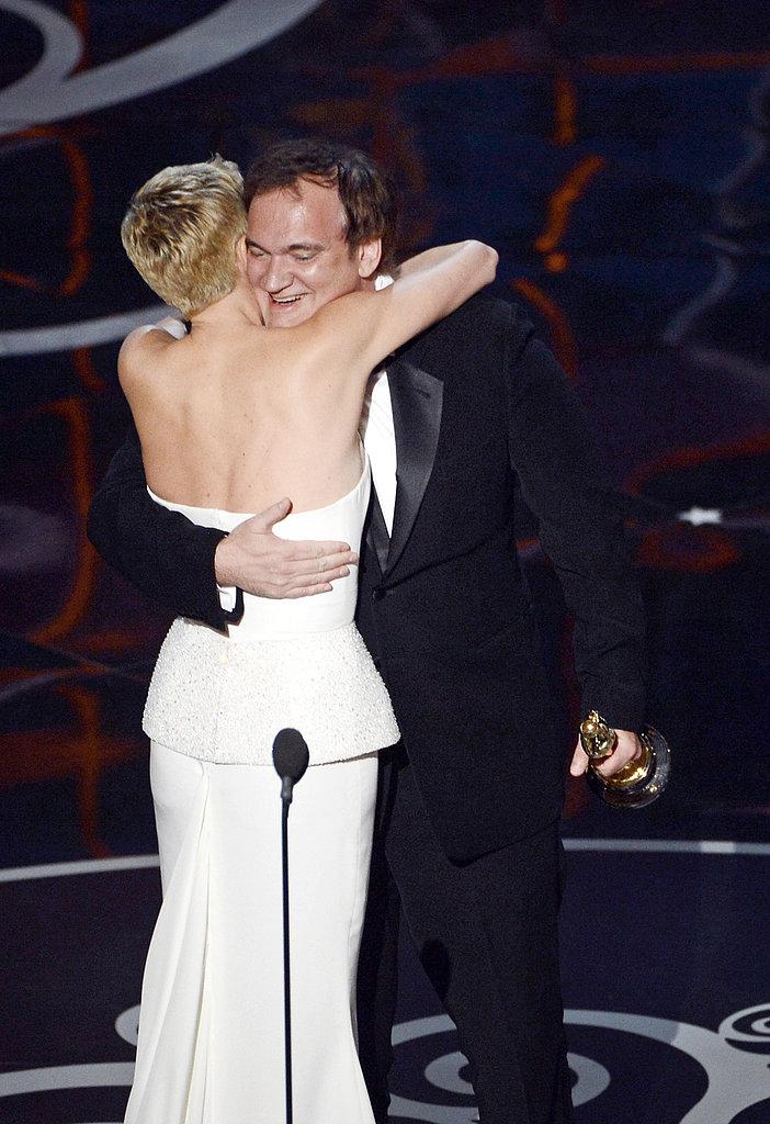 Charlize Theron hugged Quentin Tarantino at the 2013 Oscars.