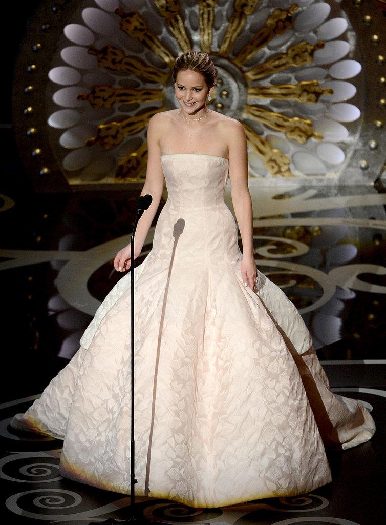 Jennifer Lawrence introduced Adele at the 2013 Oscars.
