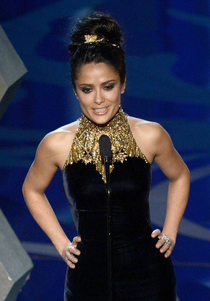 Salma Hayek presented at the 2013 Oscars.