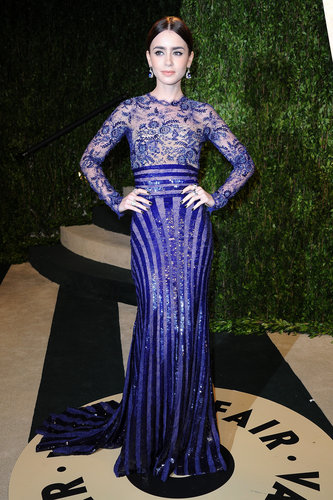 Lily Collins arrived at the Vanity Fair Oscar party.