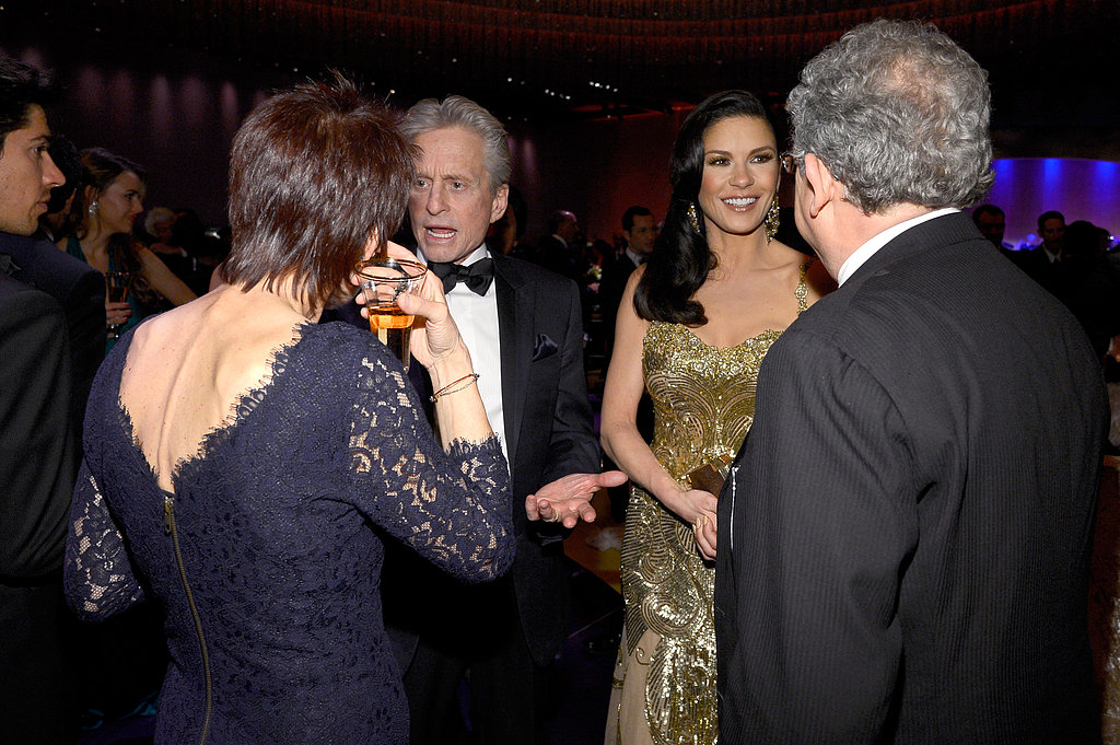 Michael Douglas and Catherine Zeta-Jones chatted with guests at the Governors Ball.