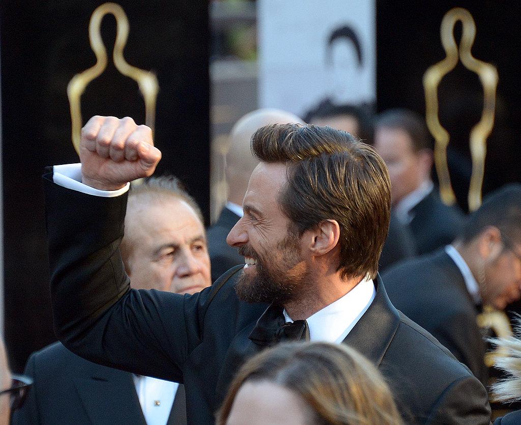 Best actor nominee Hugh Jackman was in a winning mood.