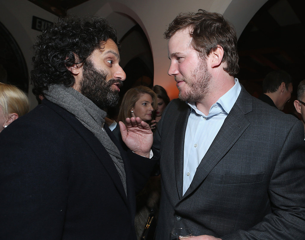 Chris Pratt chatted witha friend.