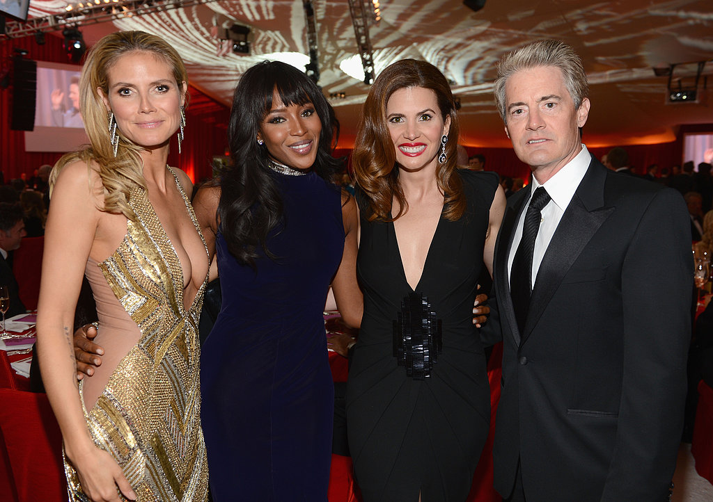 Heidi Klum linked up with friends Naomi Campbell, Desiree Gruber, and Kyle MacLachlan at Elton John's Oscar party.