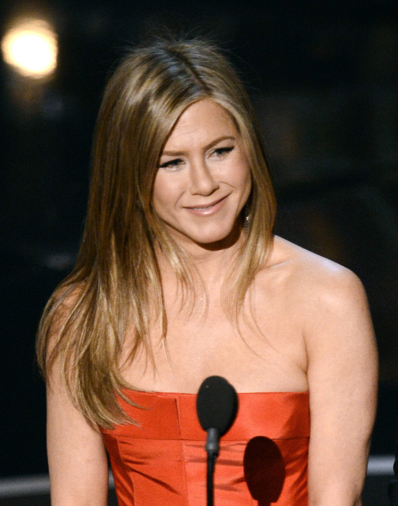 Jennifer Aniston on stage at the Oscars 2013.