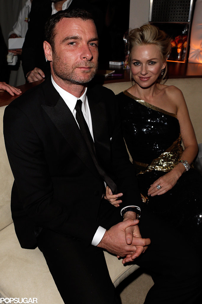 Liev Schreiber and Naomi Watts sat together at the Vanity Fair afterparty on Sunday.