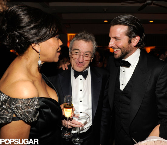 Bradley Cooper and Robert De Niro stuck together while they talked to Grace Hightower inside the Vanity Fair after party.