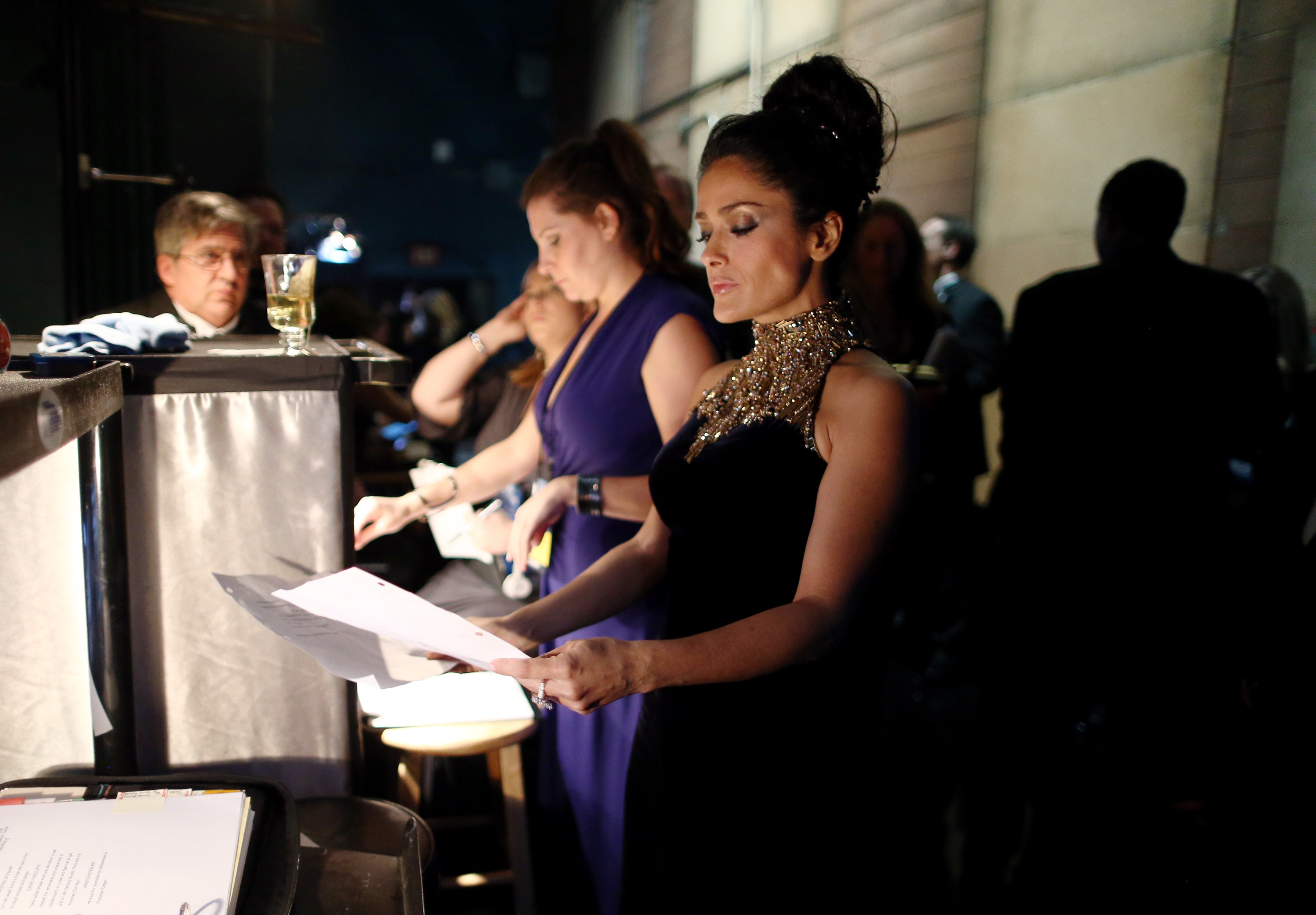 Salma Hayek backstage at the 2013 Oscars.