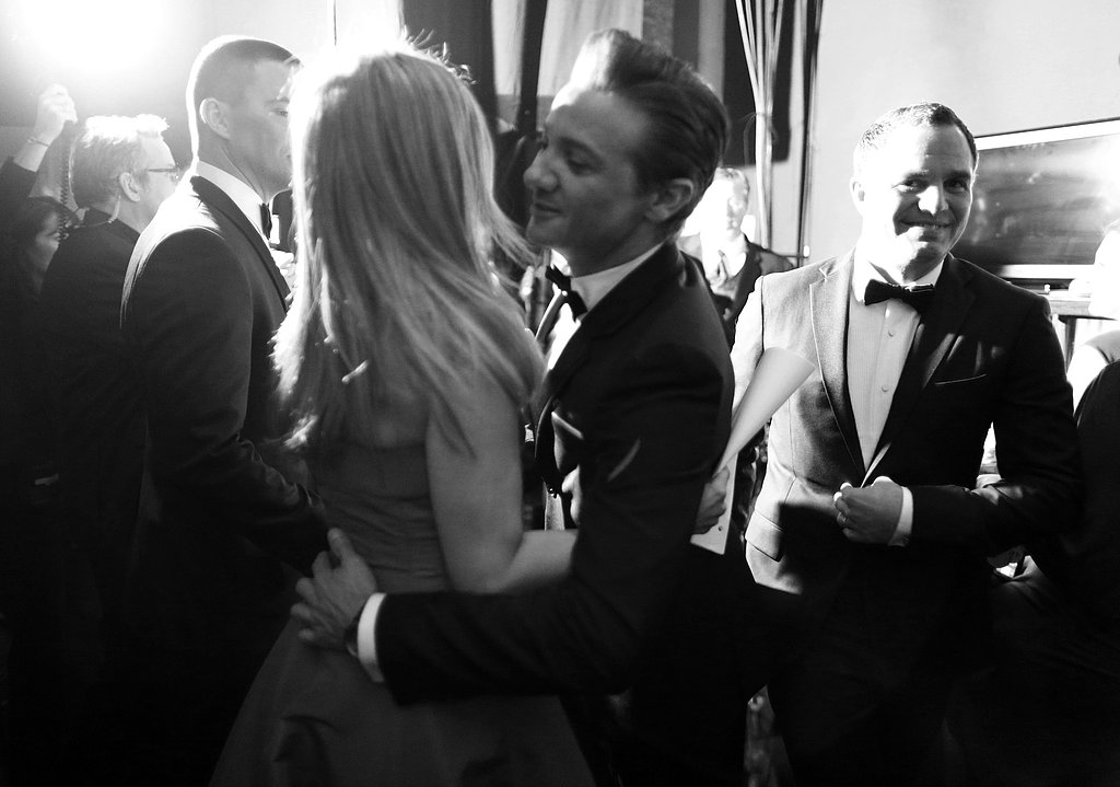Jennifer Aniston, Jeremy Renner, and Mark Ruffalo backstage at the 2013 Oscars.