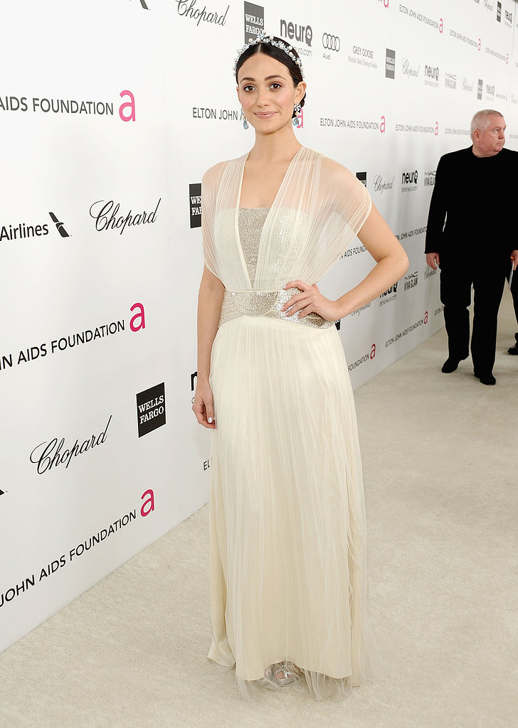 Emmy Rossum stepped out for Elton John's Oscar party in LA.