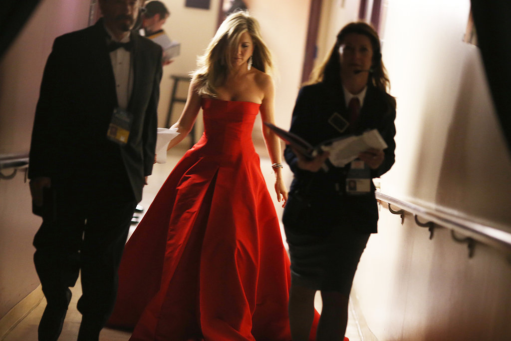 Jennifer Aniston backstage at the 2013 Oscars.