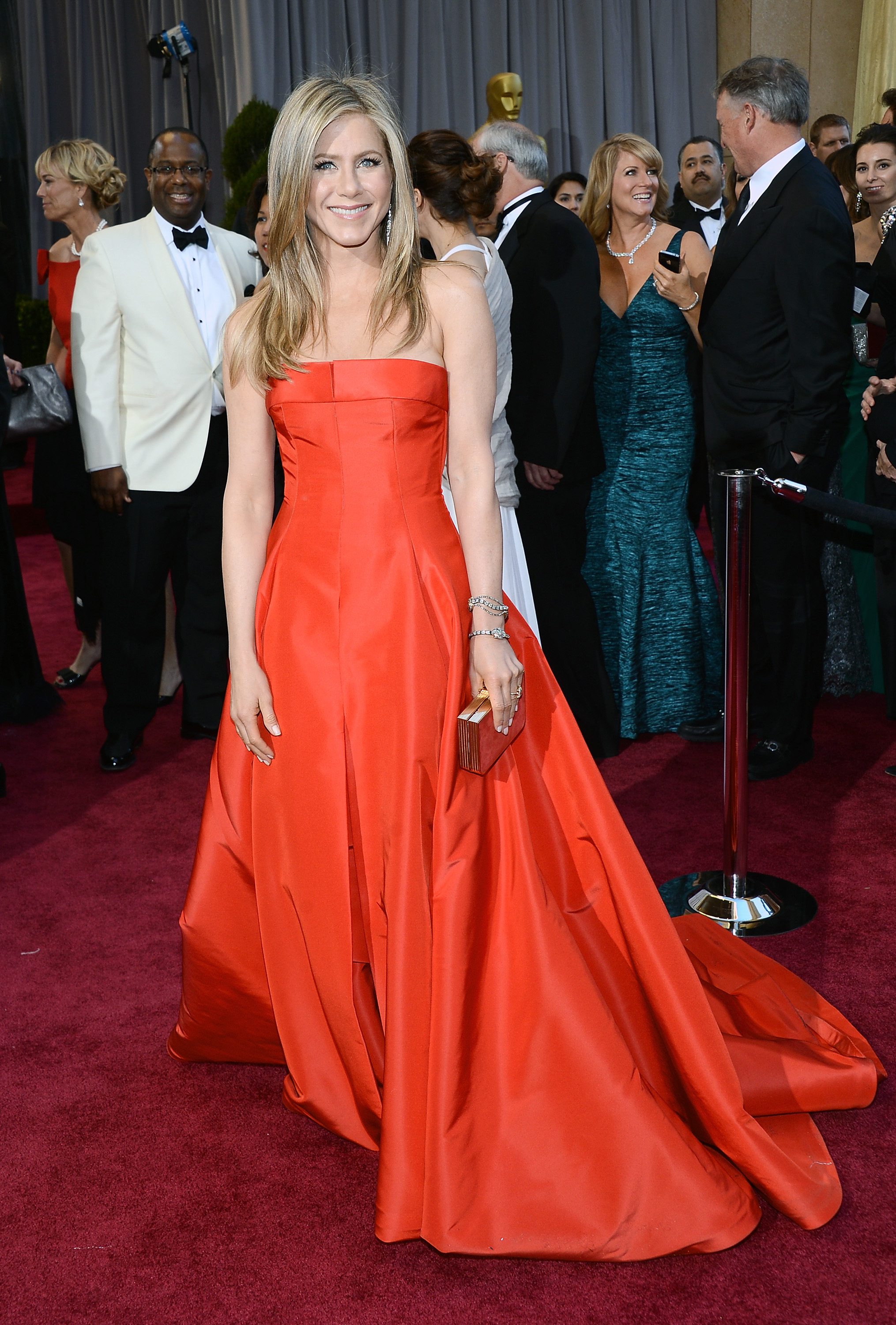 Jennifer Aniston on the red carpet at the Oscars 2013.