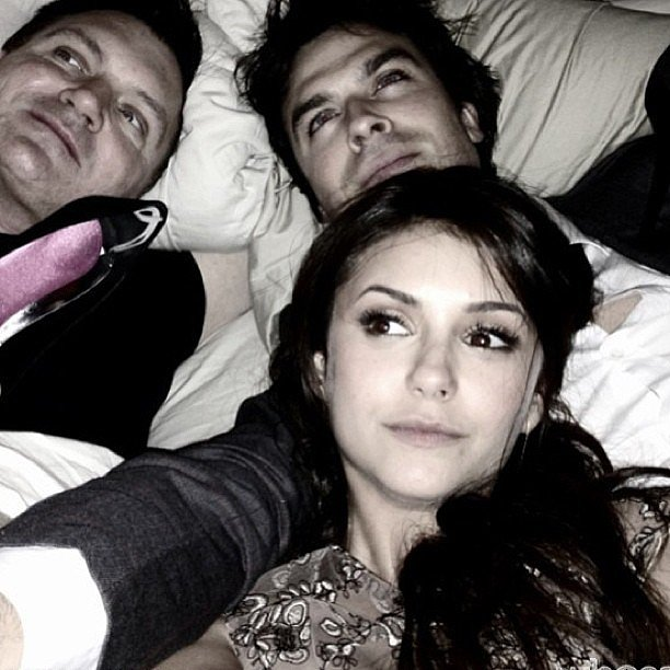 Ian Somerhalder and Nina Dobrev relaxed with a friend after a pre-Oscars party on Saturday. Source: Instagram user somerhalder_ian
