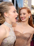 Jessica Chastain and Amanda Seyfried got giggly on the red carpet.