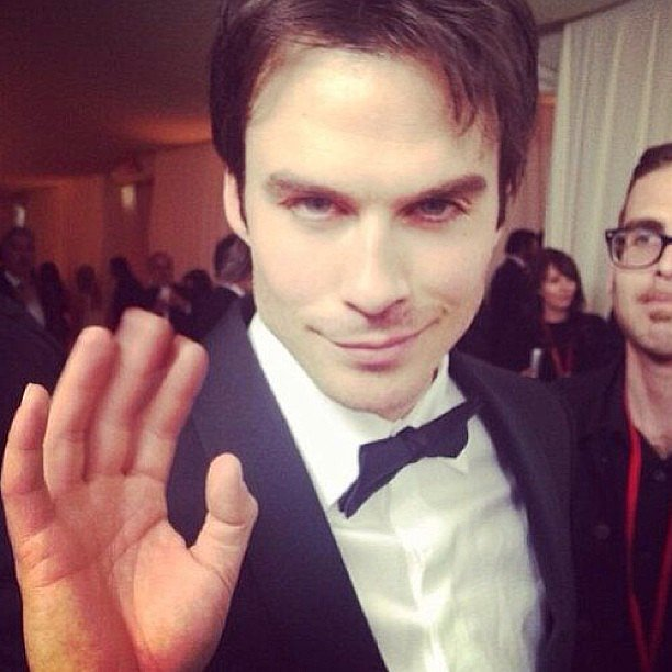 Ian Somerhalder gave a wave at Elton John's Oscars bash. Source: Instagram user somerhalder_ian