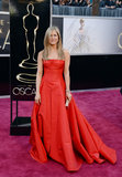 Jennifer Aniston opted for a classically chic Valentino gown.