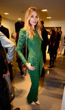 Jessica Hart wore a green lace jumpsuit at a private reception for Mario Testino.