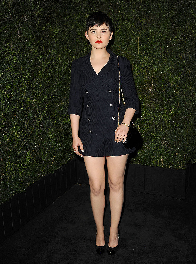 Ginnifer Goodwin evoked a subtle nautical vibe via this navy double-breasted Chanel shorts suit, keeping everything else minimal, save for her bold red lip.