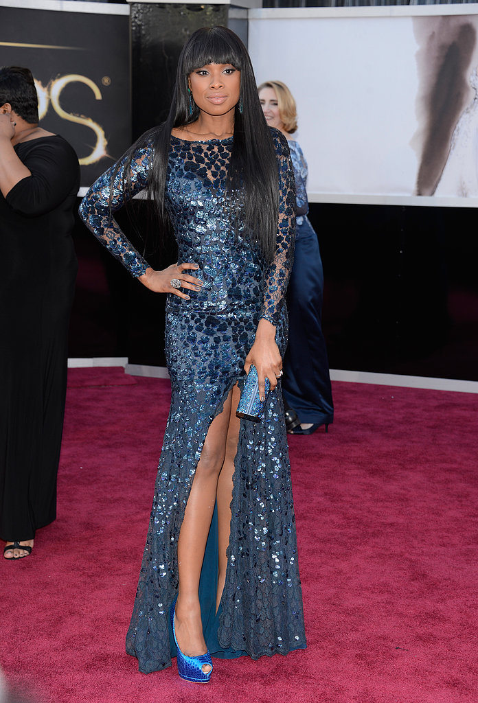 Jennifer Hudson — mama to lil David — wore a blue Roberto Cavalli Couture gown on the Oscars red carpet.