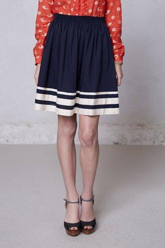Shirred-Striped Skirt