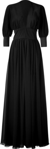 Jay Ahr Black Empire Waist Silk Gown