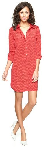 Modal pocket zigzag shirtdress